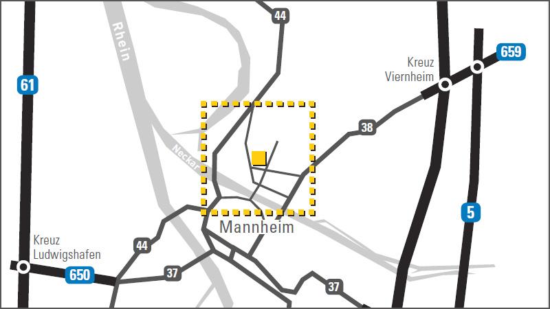 Anfahrtsskizze Mannheim