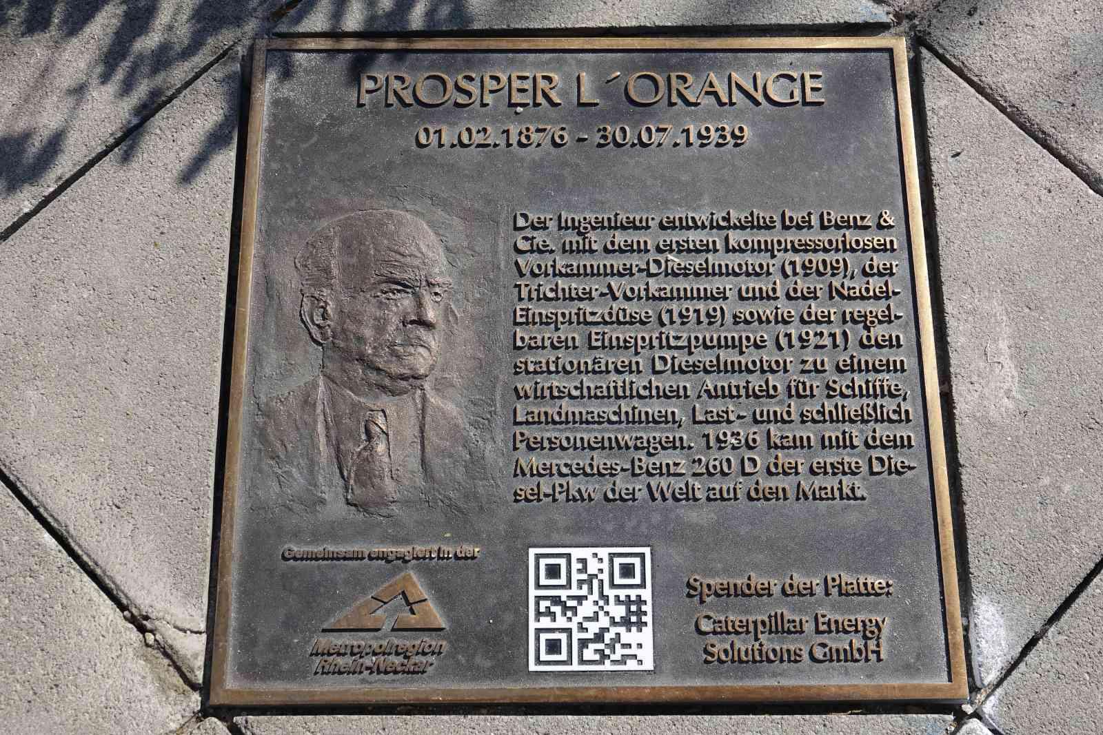 Bronze plaque for the engineer Prosper L'Orange in Mannheim